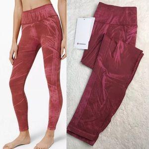 Lululemon ebb to street dye red tight leggings gym